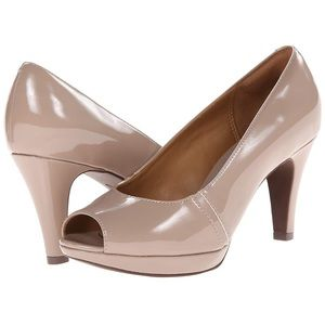 Clarks Collection Narnine Rowe Taupe Peep Toe Pump
